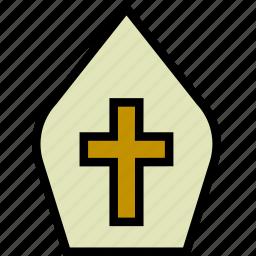 faith, gown, papal, pray, religion icon