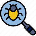 search, secure, for, bugs, protection, security icon