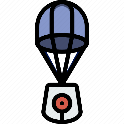 astronomy, lander, parachute, space icon
