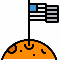astronomy, flag, moon, space icon