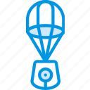 astronomy, lander, parachute, space icon