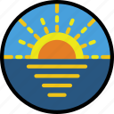 journey, sea, sunset, travel, voyage icon