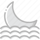 climate, forecast, moon, precipitation, seaside, settings, weather icon