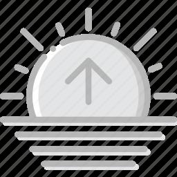 climate, forecast, precipitation, sunrise, weather icon
