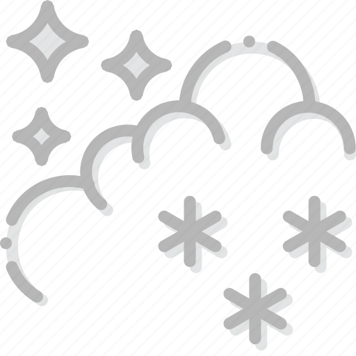climate, forecast, night, precipitation, snow, weather icon