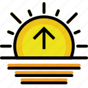 climate, forecast, precipitation, sunrise, weather icon