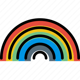 climate, forecast, precipitation, rainbow, weather icon