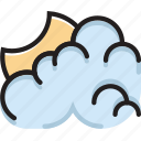 climate, cloudy, forecast, night, precipitation, weather icon