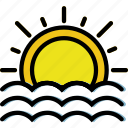 climate, forecast, precipitation, seaside, sunset, weather icon