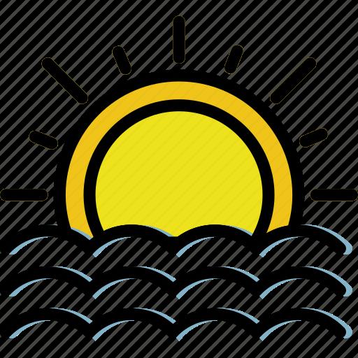 climate, forecast, precipitation, seaside, sunset, weather icon