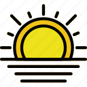 climate, forecast, precipitation, sunset, weather icon