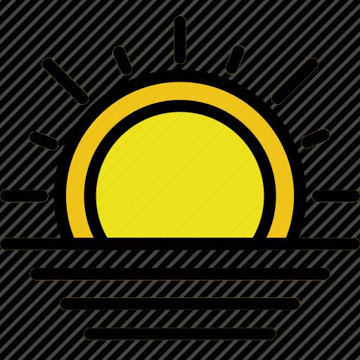 climate, forecast, precipitation, sunset, weather icon