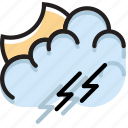 climate, evening, forecast, precipitation, storm, weather icon