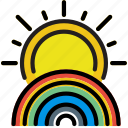climate, forecast, precipitation, rainbow, sunny, weather icon