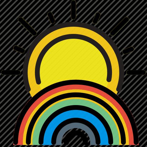climate, forecast, precipitation, rainbow, sunny, weather icon