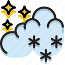 climate, forecast, night, precipitation, snow, weather icon