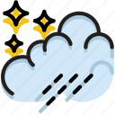 climate, forecast, night, precipitation, rain, weather icon