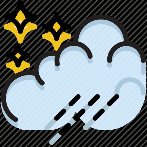 climate, forecast, night, precipitation, rain, weather icon