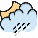 climate, forecast, night, precipitation, rainy, weather icon
