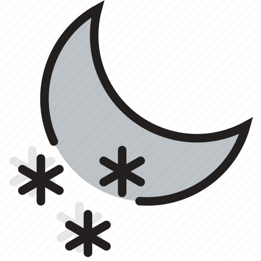 climate, forecast, nighttime, precipitation, snow, weather icon