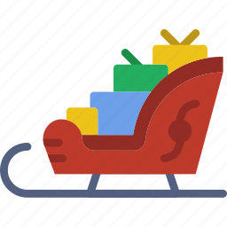 christmas, holiday, santa, sled, winter icon