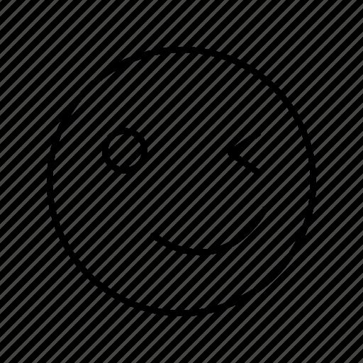 emoji, emoticon, smile, wink icon