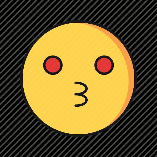 emoji, emoticon, kiss, smile icon