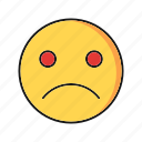 emoji, emoticon, sad, smile icon