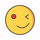 emoji, emoticon, smile, wink icon