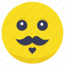 emoji, face, man, moustache, smiley icon