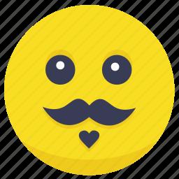 emoji, face, man, moustache, smiley icon