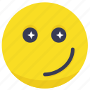 cool, emoji, shine, shining, smile, star icon