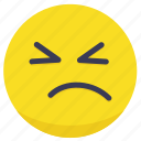 angry, emoji, face, sad, unhappy icon