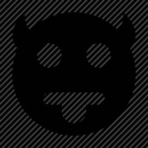 angry, demon, devil smiley, evil smiley, menacing smile icon