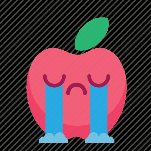 apple, cute, fresh, fruit, fun, smiley icon