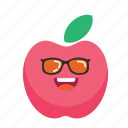 apple, cute, fresh, fruit, fun, smiley icon