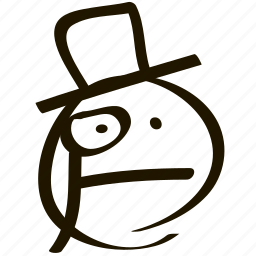 emoji, emoticon, emotion, eyeglass, hat, intelligent, monocle icon