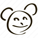 animal, bear, cheerful, cute, emoticon, emoticons, emotion, face, happiness, happy, head, panda, person, positive, smile, smiley icon