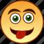 cheerful, emoticon, happy, smile, smiley, teasing, tongue icon