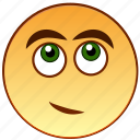 dreaming, emoticon, emotion, smile, smiley icon