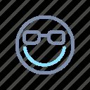 emoji, emoticon, emotion, eyeglass, face, smile, smiley icon
