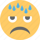 aggressive, angry face, cold sweat, emoji, relieved emoji icon