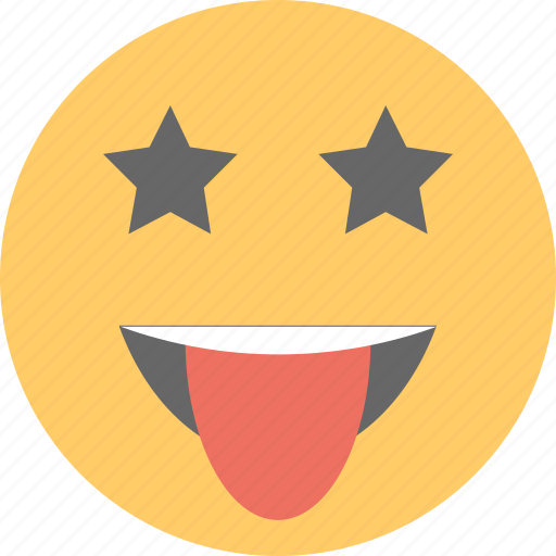emoticon, jolly, naughty, smiley, starstruck face icon