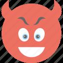 devil grinning, emoji, evil grin, evil smiley, nerd face icon