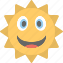 emoji, happy, smiley, smiling sun, sun face emoji icon