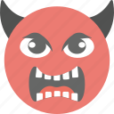 angry, devil emoji, devil face, evil, pouting emoticon icon