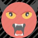 angry smiley, devil grinning, emoji, evil grin, evil smiley icon