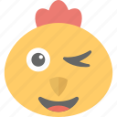 animal, baby chick, chick emoji, smirking, winking icon