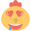 adorable, animal, chick emoji, hearts, hen icon