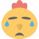 animal, baby chick, chick emoji, crying, hen icon